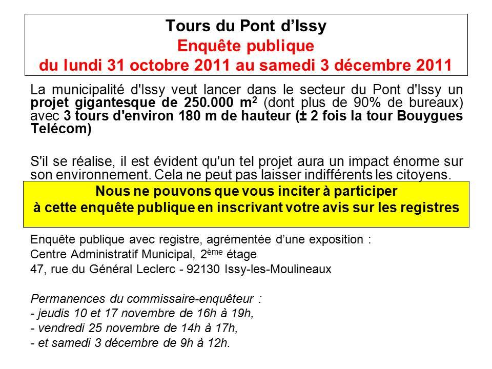 Enquête publique révision PLU Pont d'Issy