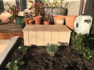 Garden box builder. Garden storage box. Storage for garden tools. Backyard makeover for Bendigo gardens.