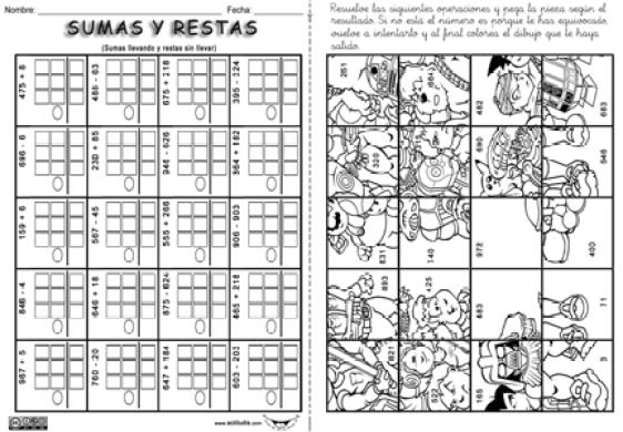02 Sumas llevando Restas sin llevar puzzle laberinto p