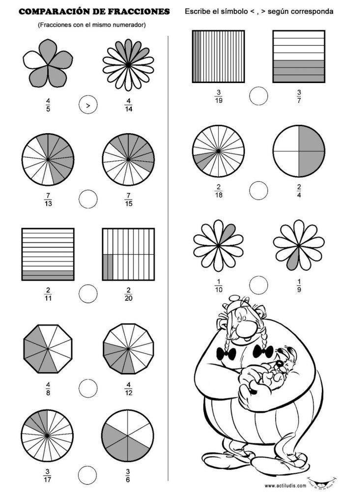 Comparación de fracciones - Actiludis