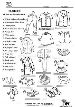 Vocabulario de ropa en inglés pdf