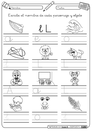 Letra l letra cursiva actiludis for L practicas