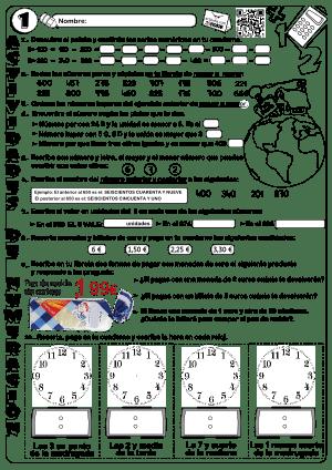 Numeración, cálculo, dinero y tiempo