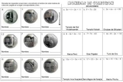 Monedas de coleccion - ecuaciones