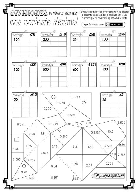 Division de numeros naturales con cociente decimal 2 ABN