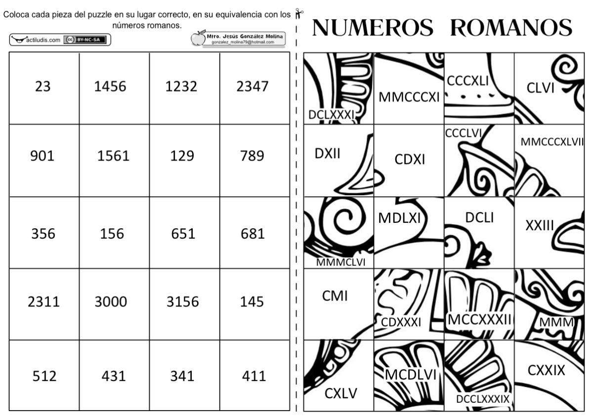 Puzle con numeración romana - Actiludis