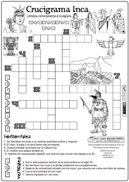 Crucigrama Inca Actiludis