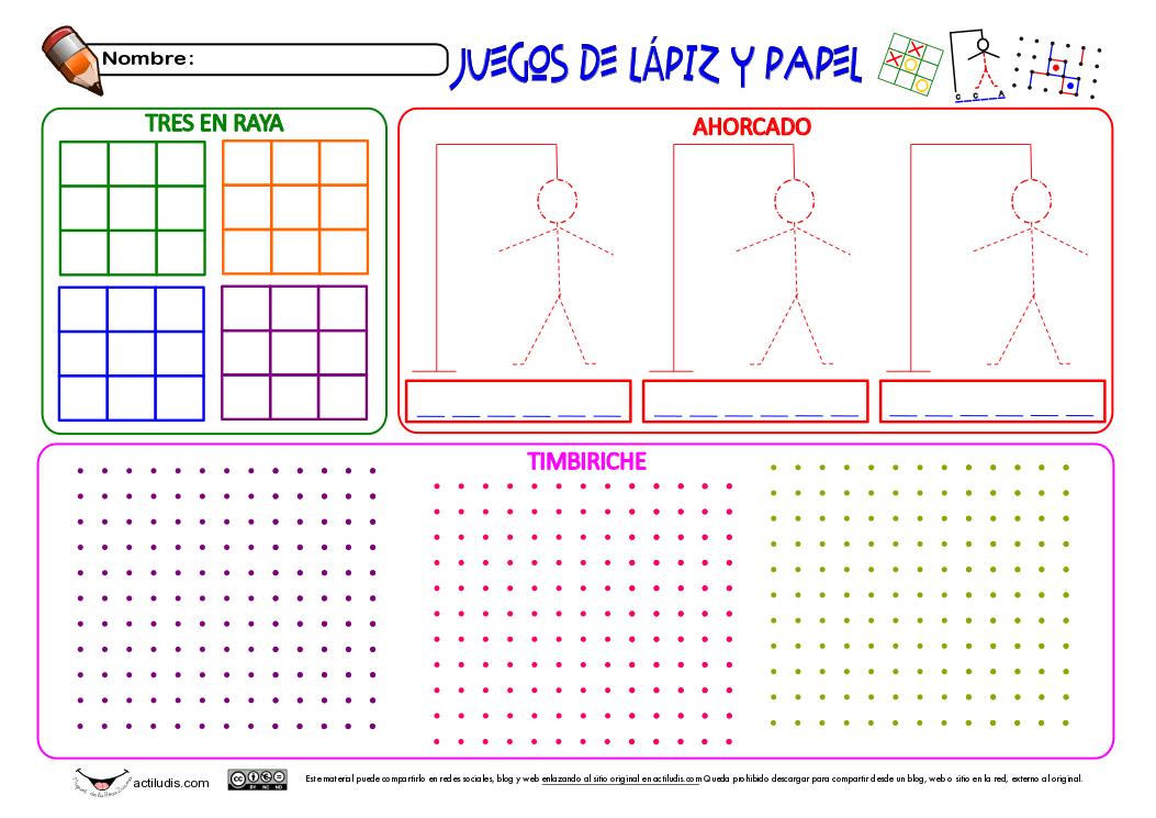 Juegos De Lapiz Y Papel 3 En Raya Ahorcado Y Timbiriche Actiludis