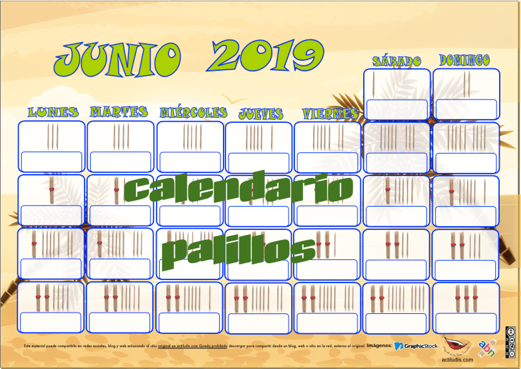Calendario De Junio.Calendario De Palillos Junio 2019 Actiludis
