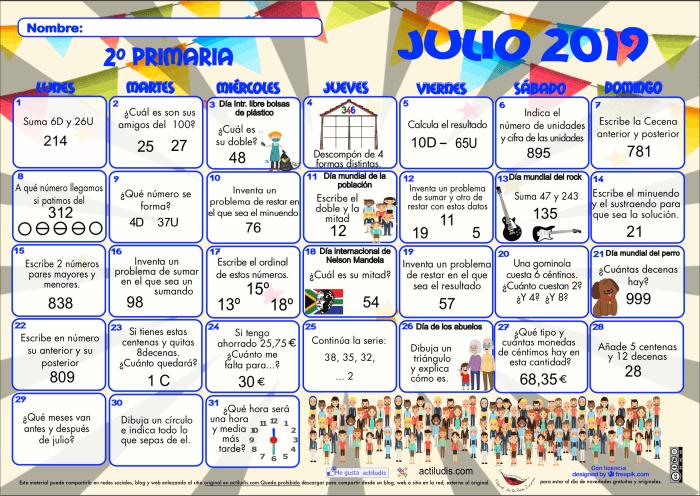 Calendario Julio Del 2000.Calendario Matematico 1º Y 2º De Primaria Actiludis