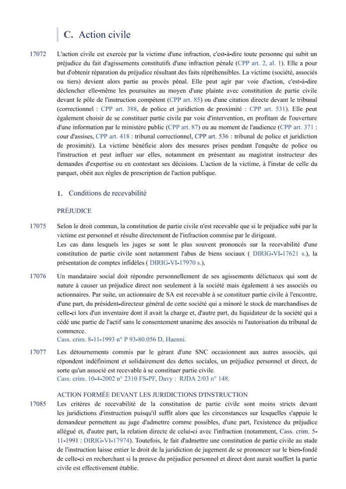 ÉDITIONS FRANCIS LEFEBVRE Définition de laction civile Page1 - Définition de l'action civile qui a permis à RANARISON Tsilavo de se faire attribuer 1.500.000.000 ariary alors qu'il ne peut pas être partie civile par les Editions Francis LEFEBVRE