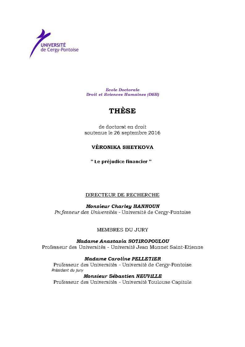 NEXTHOPE RANARISON Tsilavo simple associé  ne peut pas exercer une action civile d'après Véronika SHEYKOVA – Le préjudice financier (Thèse soutenue en Septembre 2016)
