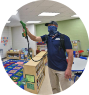 classroom cleaning and sanitizing toys during the day