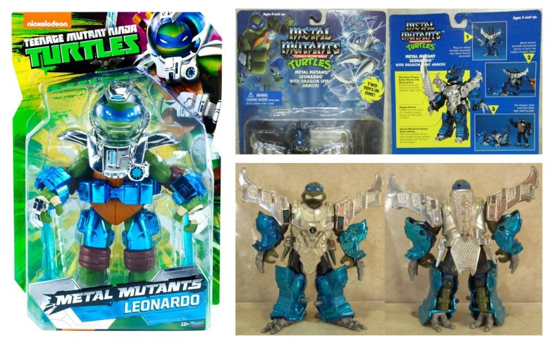 Playmates TMNT Metal Mutants Leonardo - 2015 and 1995