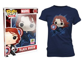 Pop! Tees Marvel - Black Widow Shield (Women's Sizes Only)