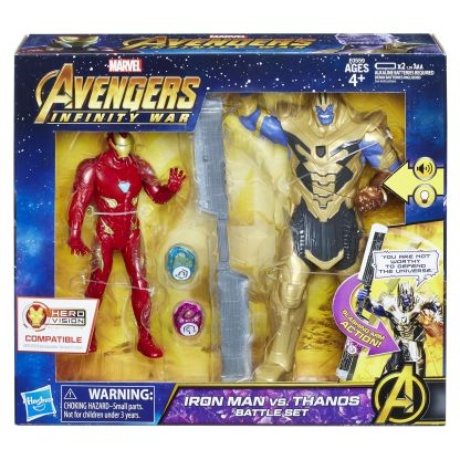 MARVEL AVENGERS INFINITY WAR IRON MAN VS. THANOS BATTLE SET - in pkg