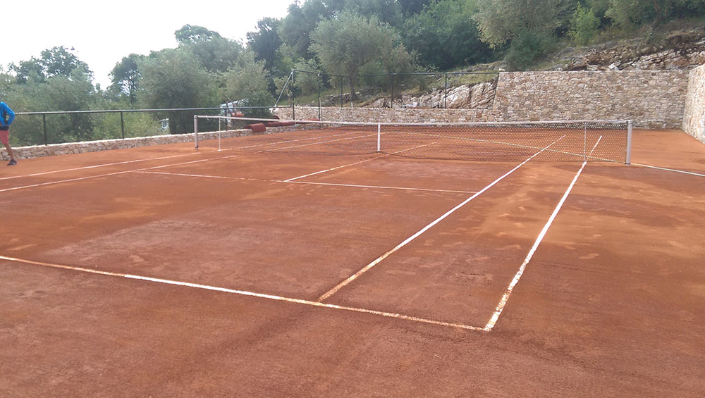 Construction of tennis court with Matchclay system in Corfu