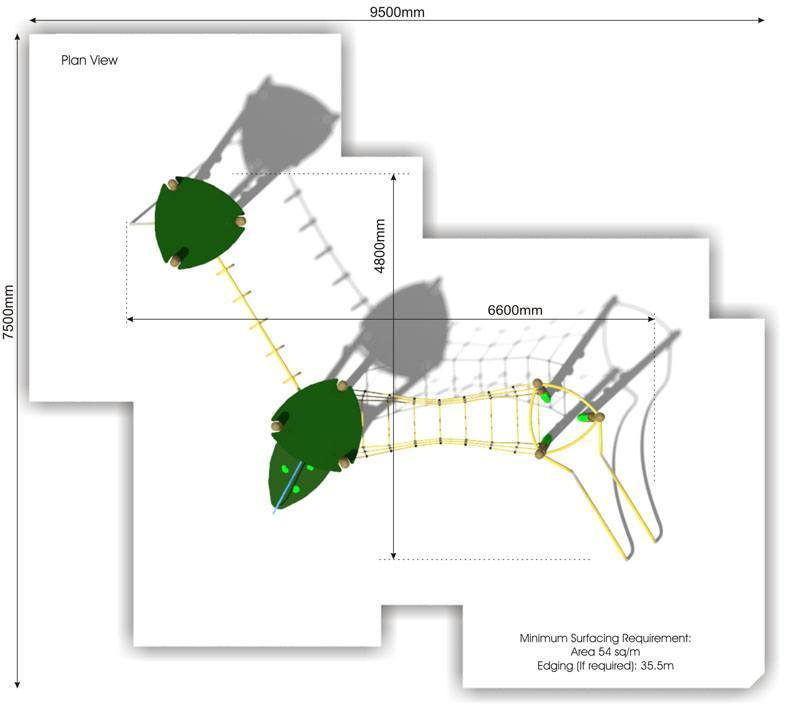 Xplorer 3 Climbing Frame plan view
