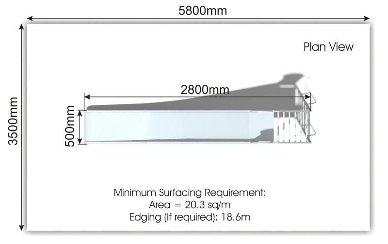 Freestanding Stainless Steel Slide plan view