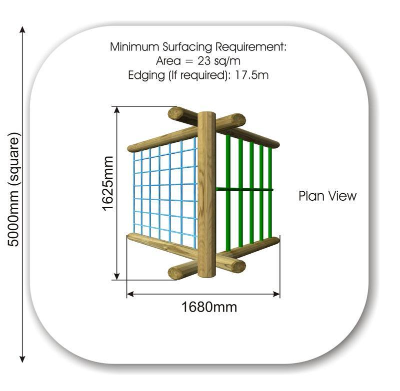 Inclined Climbing wall with Scramble Net and Bars plan view