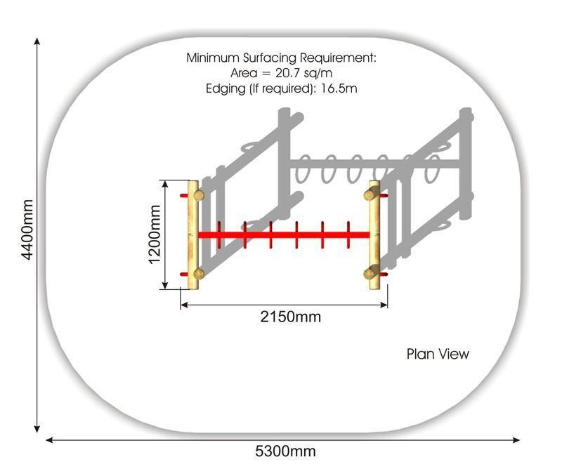 Looped Ladder 2m plan view
