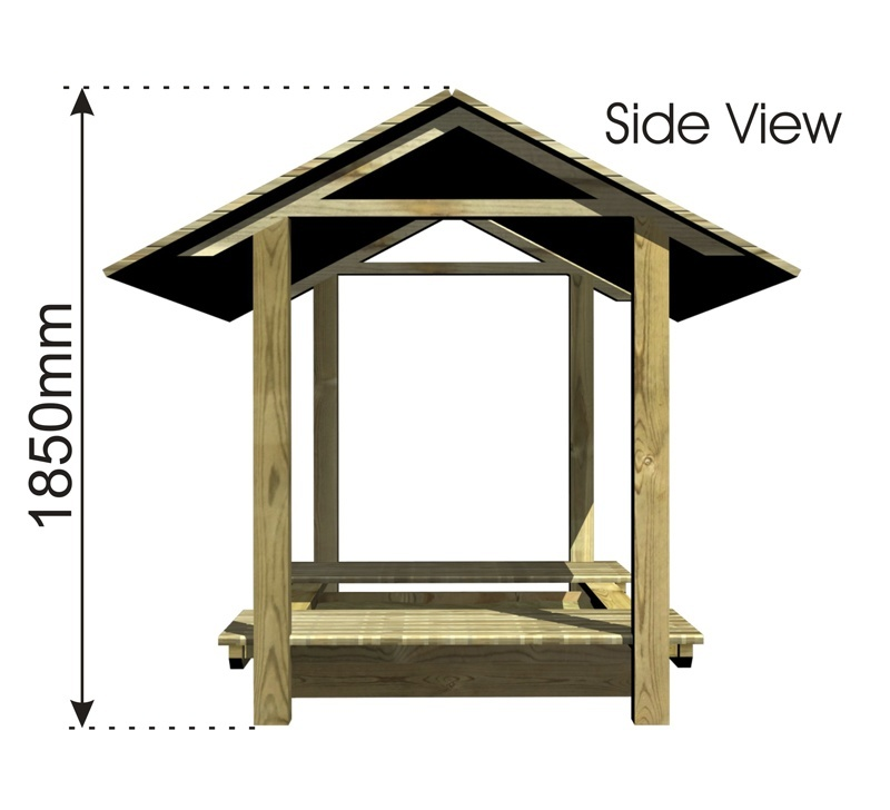 Sand Pit with Roof and Sliding Cover side view