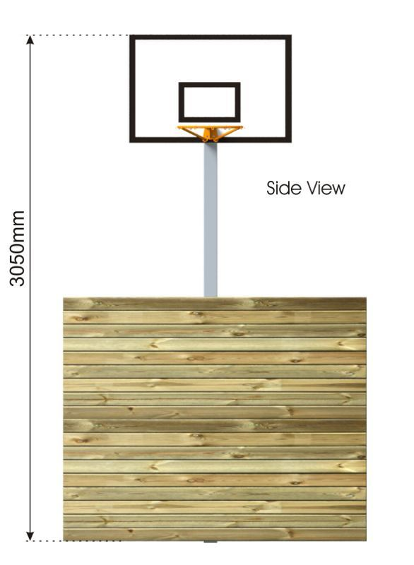Basketball Hoop with Kickwall side view