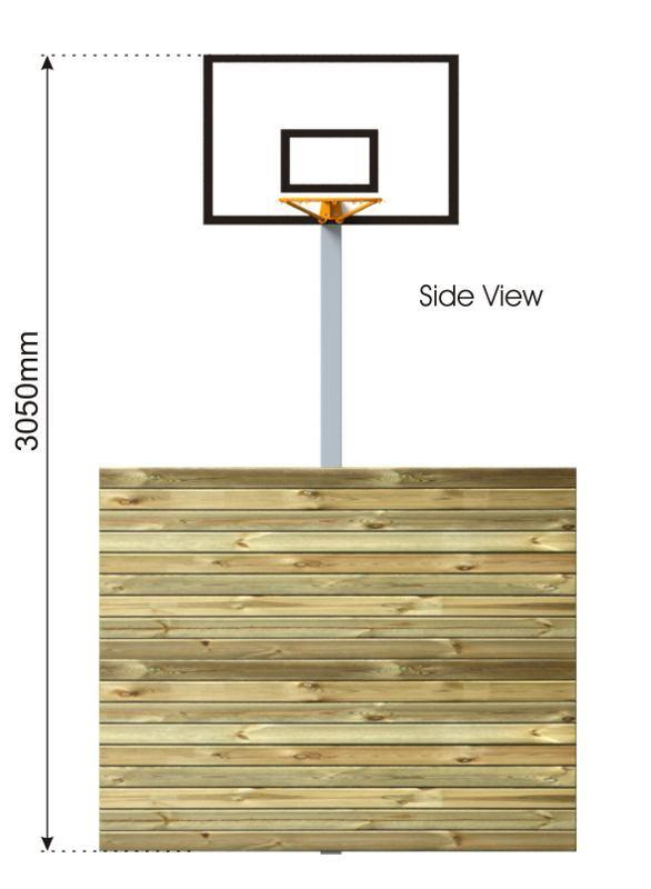 Basketball Hoop with Kickwall side view