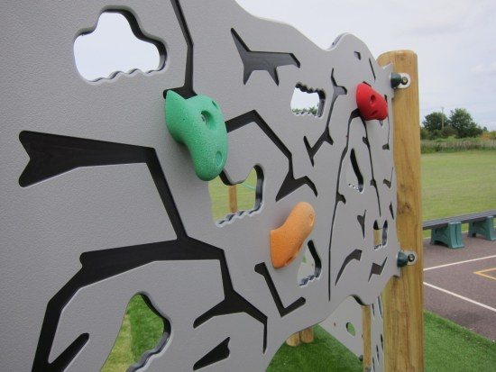 Traversing wall with hand holds - great with other climbing wall panels or as part of a trim trail