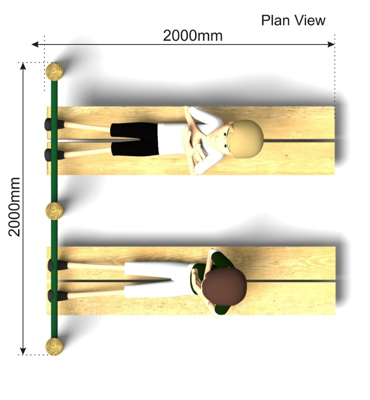 Double ABS Bench plan view