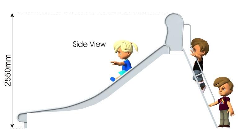 Freestanding Stainless Steel Slide side view