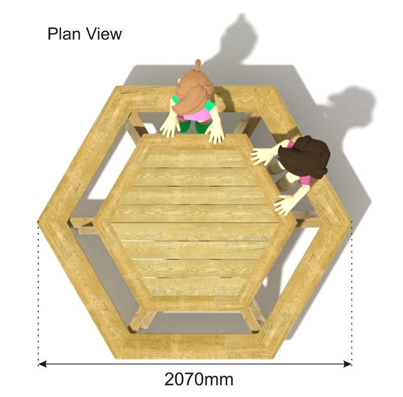 Hexagonal Picnic Table plan view