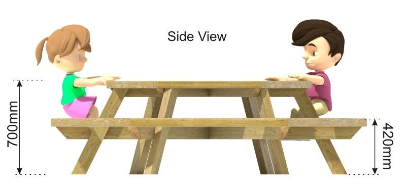 Hexagonal Picnic Table side view