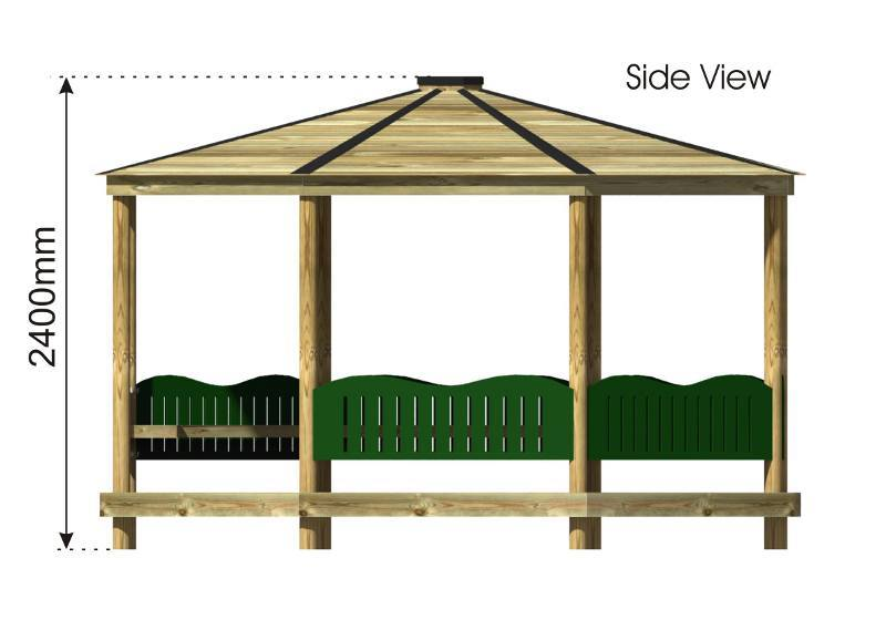 Octagonal Shelter with HDPE Panels side view