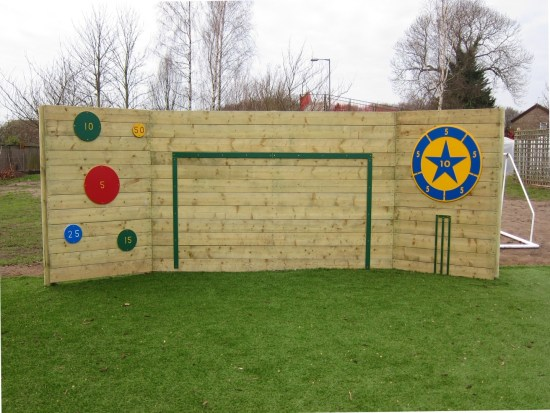 Timber kick wall with ball game markings