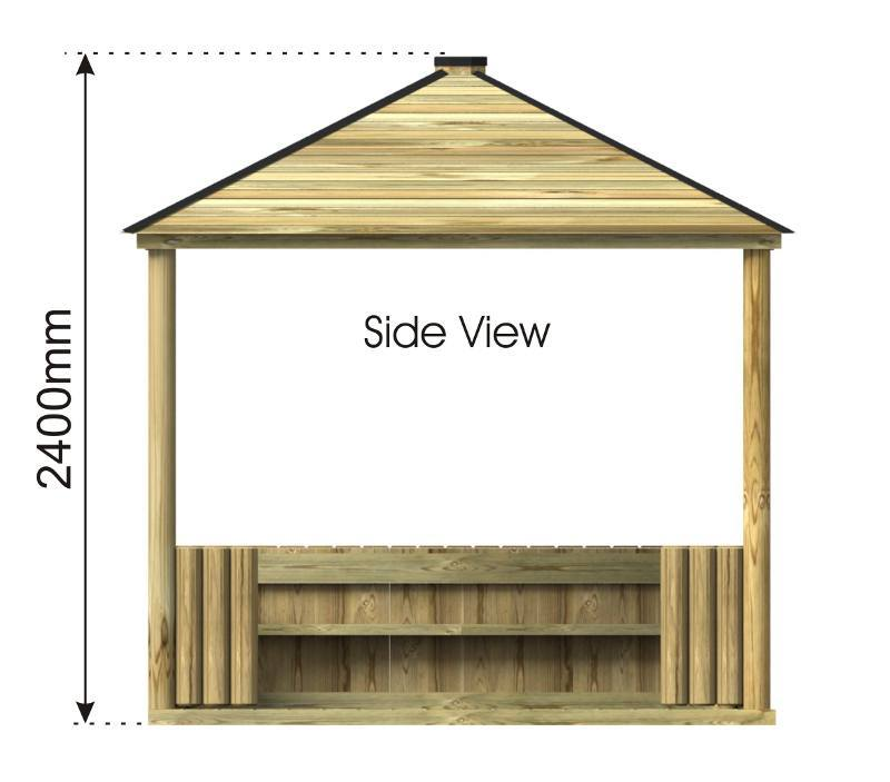 Square Outdoor Classroom with Seating side view