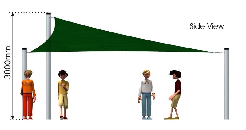 Triangular Sail Shade – UNAVAILABLE side view