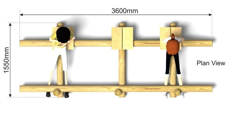 Triple Sit Ups Bench plan view