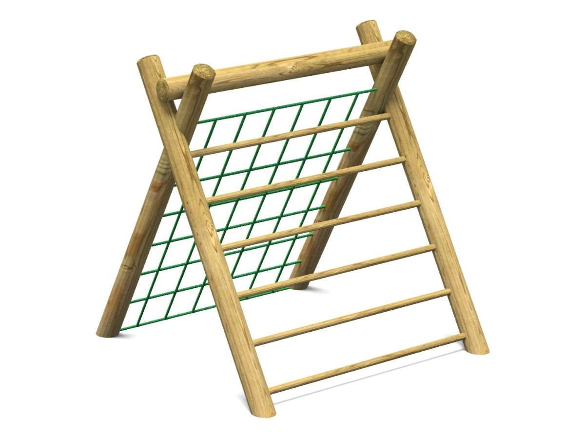 Inclined Climber Scramble Net with Timber Ladder