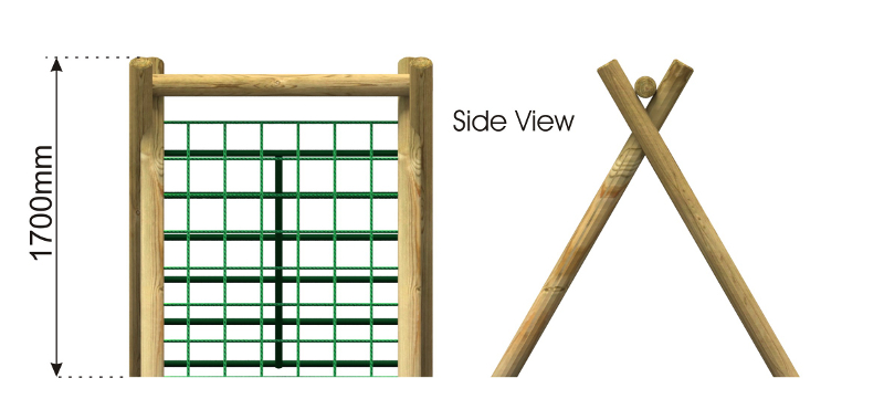 Inclined Climbing wall with Scramble Net and Bars side view