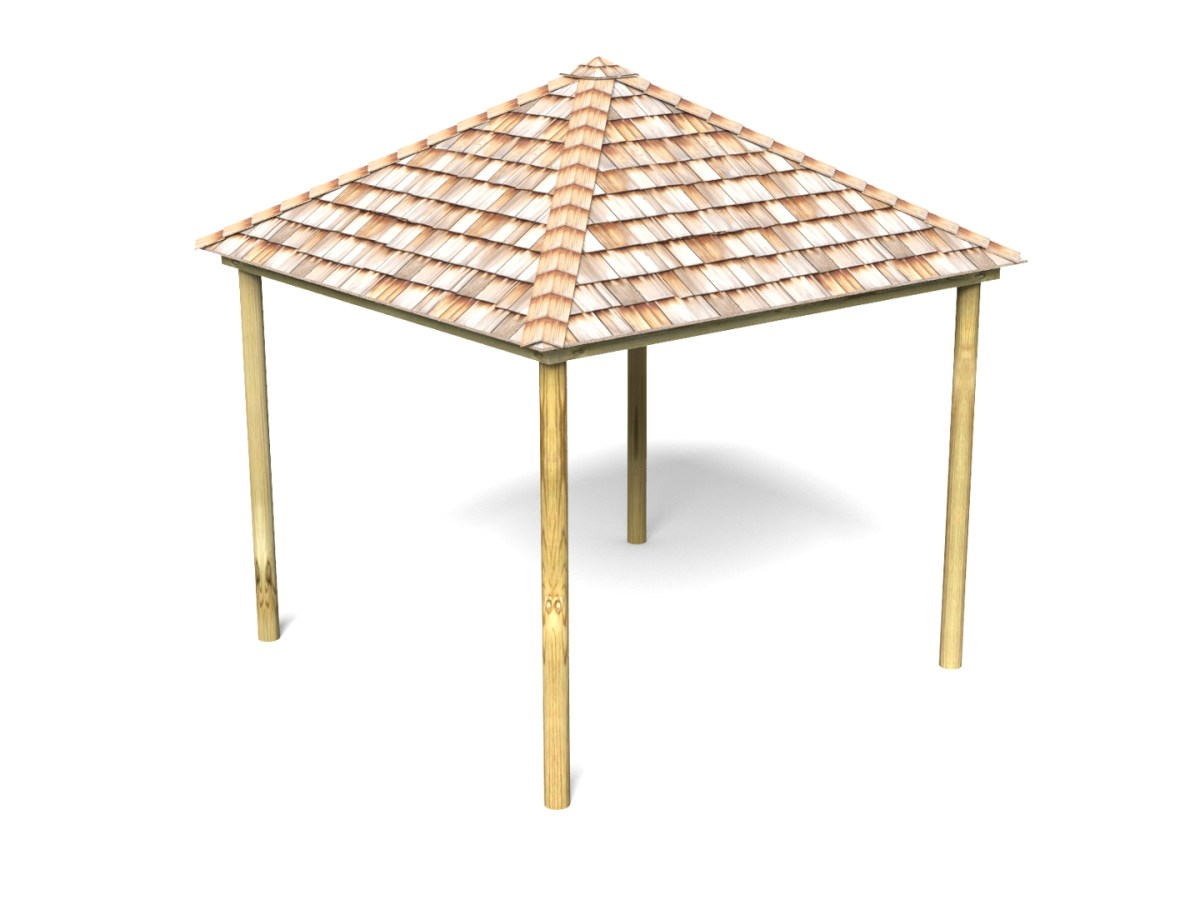 Square Shelter with Shingle Roof
