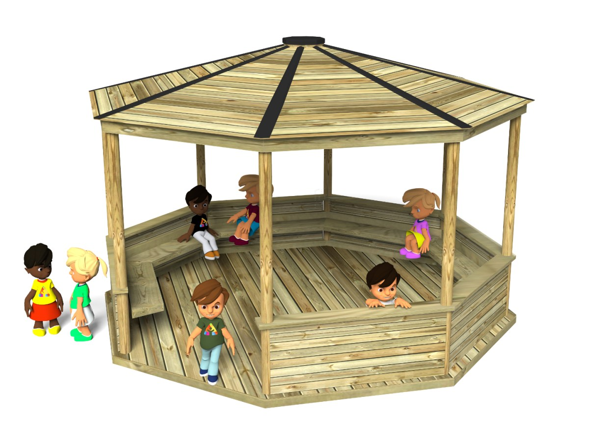 Octagonal shelter - ideal for parks and playgrounds. Comes in variety of sizes
