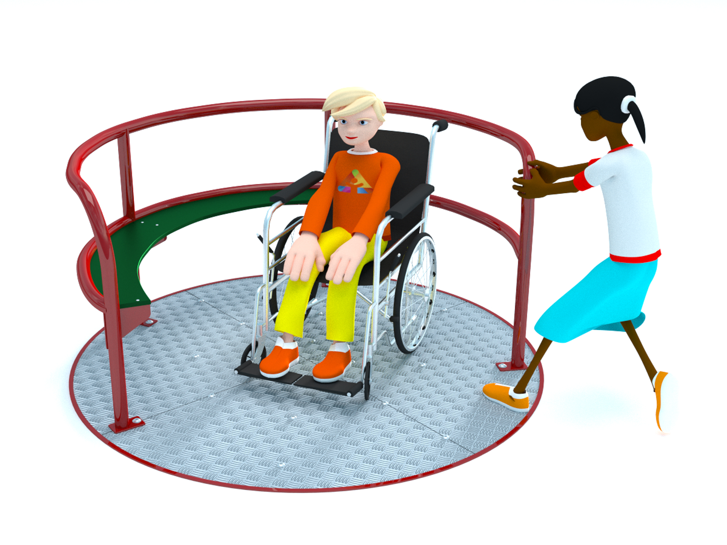 wheelchair equipment leather dining chairs ikea inclusive accessible playground for schools the carousela roundabout