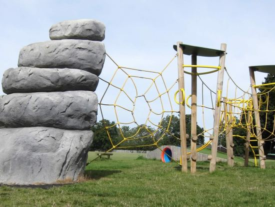Xplorer climbing frame with climbing boulder