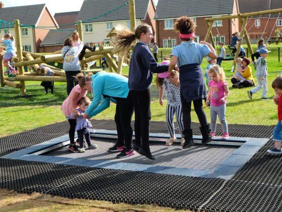Large playground trampoline