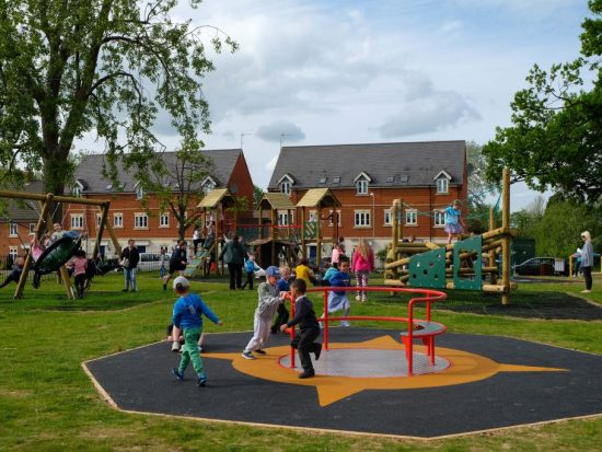 Wheel chair roundabout at Blenheim grange play area Carbrooke