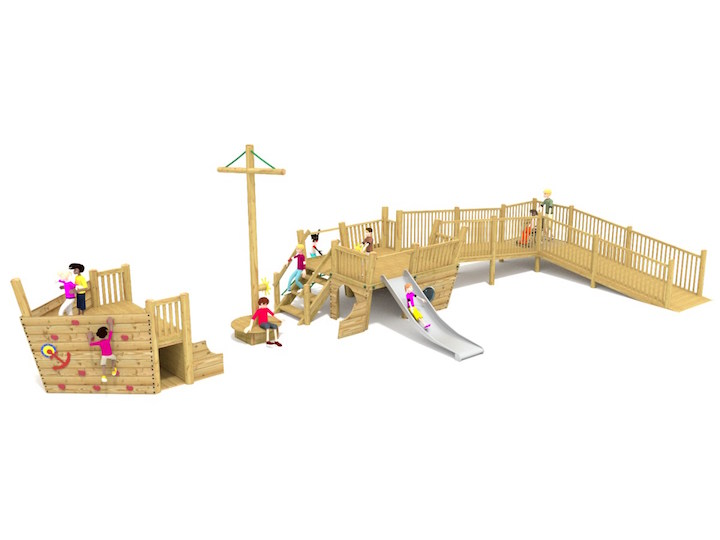 Play tower with added accessibility features for wheelchair access - form our all inclusive accessible range