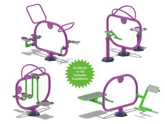 Outdoor gym machines for 8 children