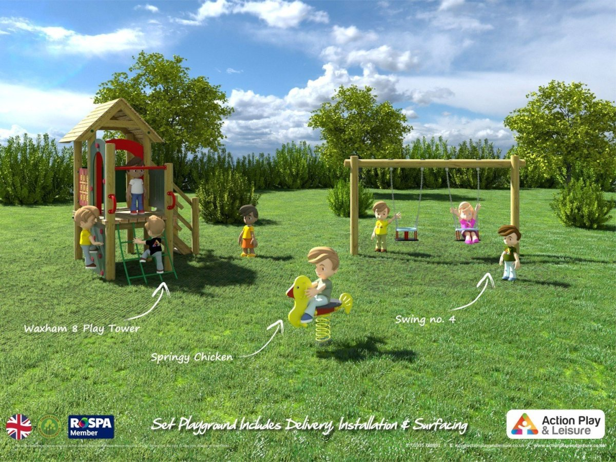 Playground cost example for young children with a Waxham play tower, a springer and a double toddler swing