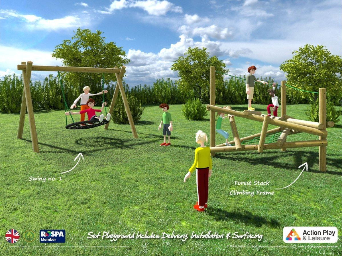 Playground cost example with a Forest Stack Climbing Frame and a nest swing